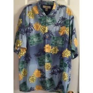 TOMMY BAHAMA Mens  Hawaiian Silk Shirt Sz Large